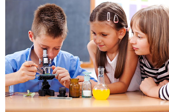 Kids with a microscope