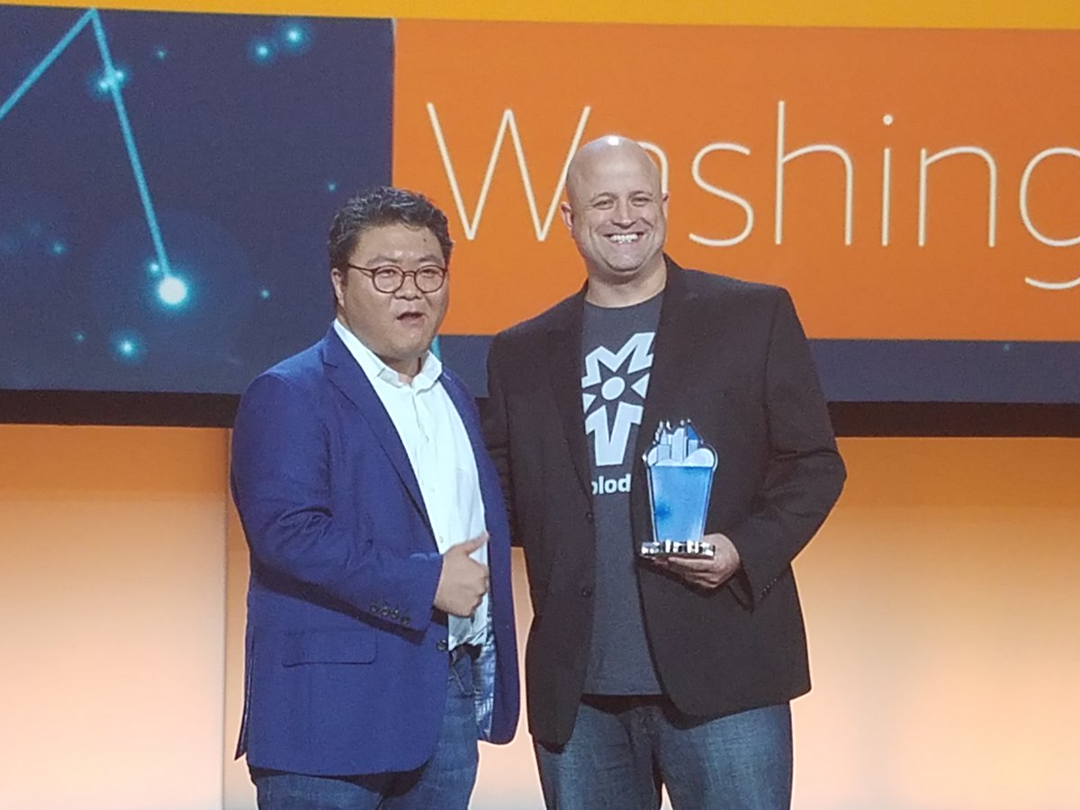 Solodev CEO Shawn Moore Accepting AWS City on a Cloud Innovation Award
