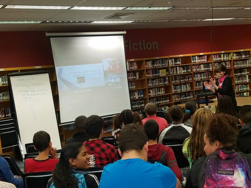 Students using Skype to talk with an astronaut!