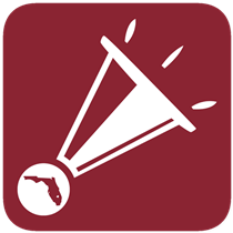 FortifyFL mobile app icon. Shape of state of Florida in a circle at the base of a megaphone.
