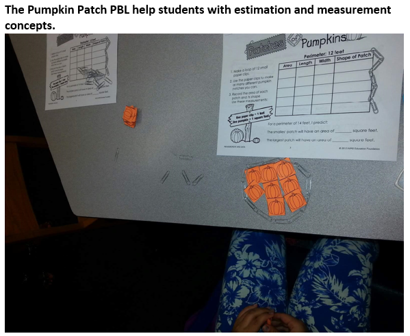 The Pumpkin Patch PBL help students with estimation and measurement concepts