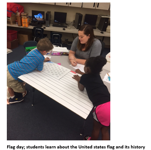 Students coloring large U.S. flag in classroom
